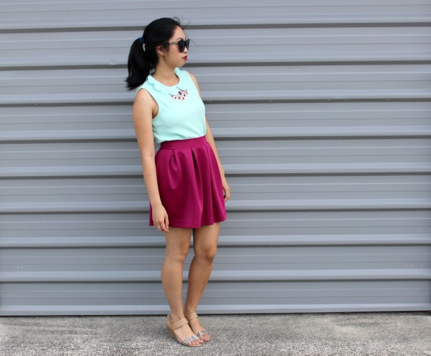 ootd outfit skirt wedges fashion