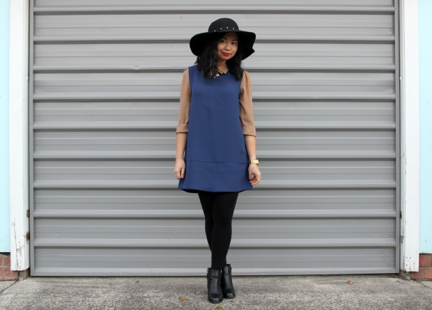 contrast ootd outfit thrift thrifted dress boots hat lookbook