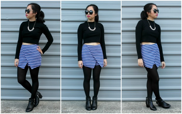 ootd outfit lookbook stockings boohoo boots tights stockings.co.nz skort