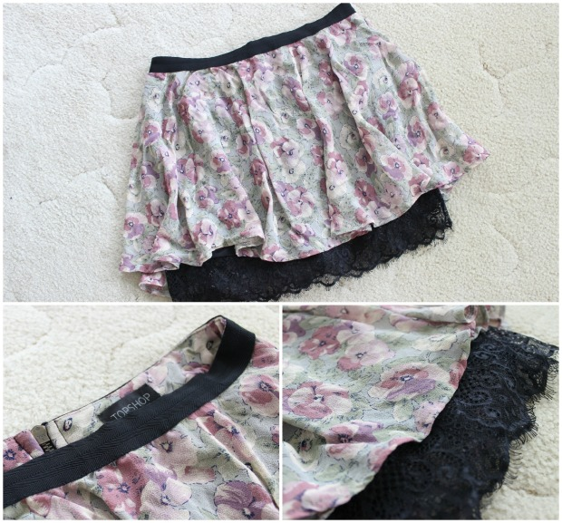thrifted topshop floral lace skirt