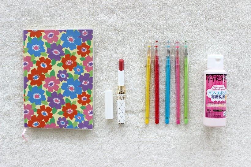 haul daiso floral pens lipstick
