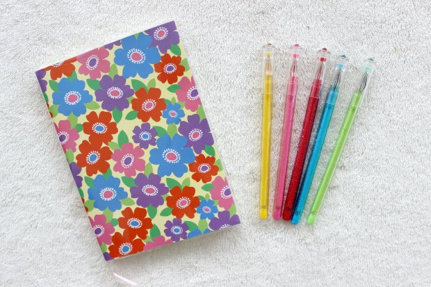 haul daiso floral pens notebook