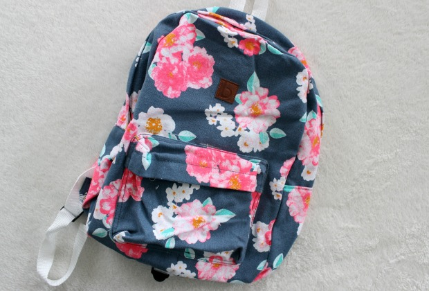 floral backpack haul