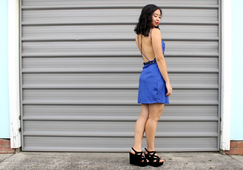 ootd outfit thrifted dress wedges
