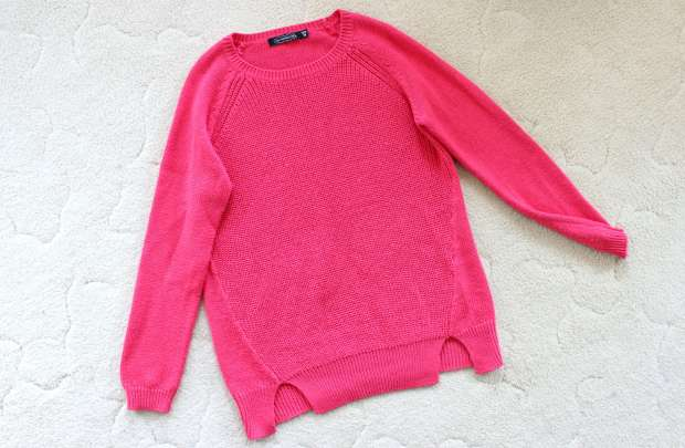 thrifted sweater thrifting pink opshopping