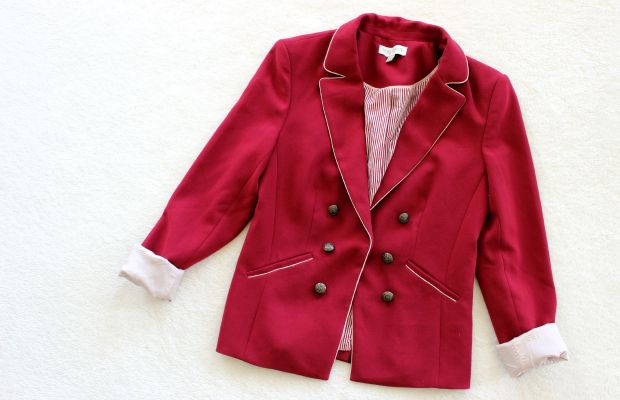 thrift haul red blazer