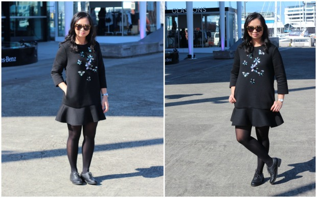 thrifted black dress ootd outfit heels nzfw