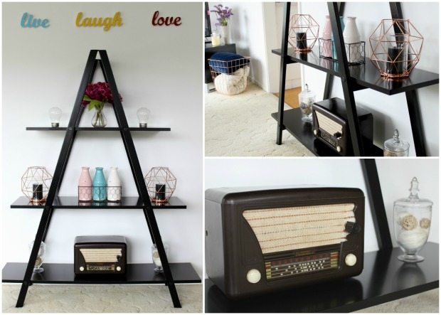 lounge room decor triangle shelf