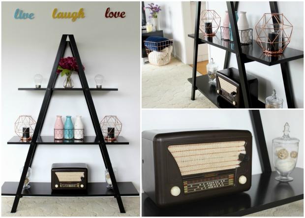 lounge room decor triangle shelf