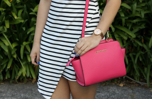 michael kors pink bag fossil watch stripe dress ootd