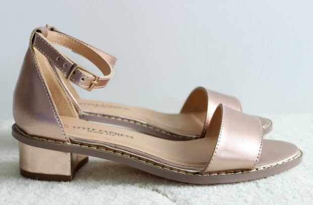 numberone shoes haul rose gold sandals