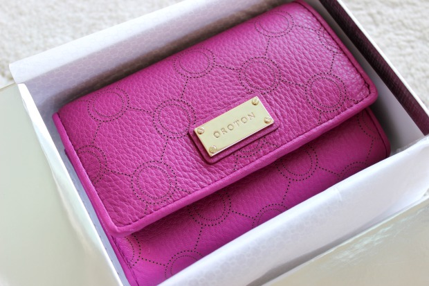 oroton venice high fold wallet berry