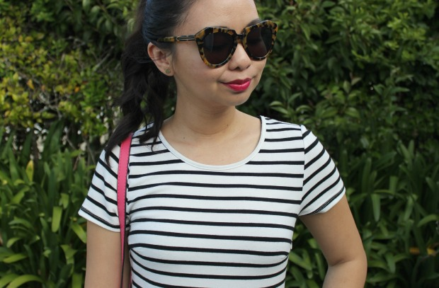 stripe dress ootd karen walker sunglasses