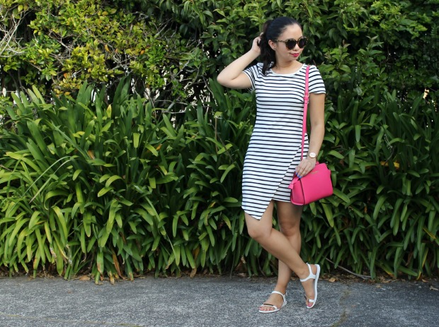stripe dress outfit pink bag sandals