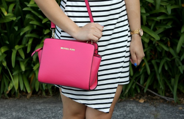 striped dress ootd michael kors pink bag fossil watch