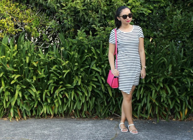 thriftes stripe dress bag sandals ootd