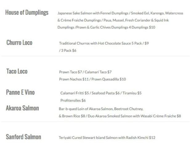 auckland seafood festival menu