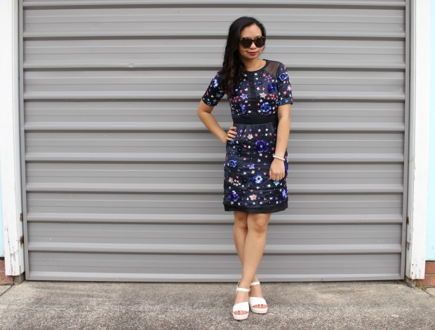 topshop beaded dress ootd