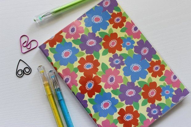 daiso stationery pens floral notebook