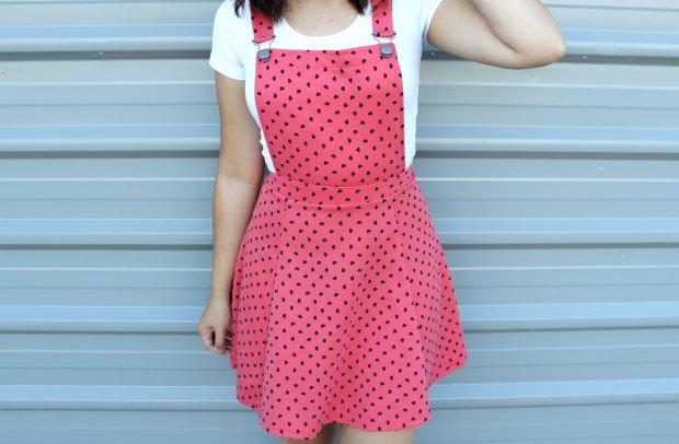 asos hearts pinafore dress
