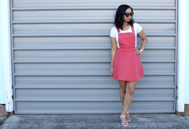 asos hearts pinafore ootd