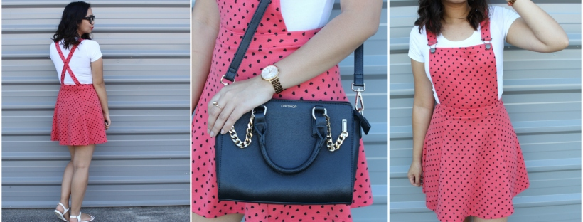 asos hearts pinafore dress ootd outfit topshop bag