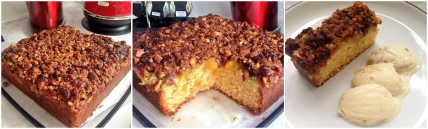 rhubarb peach crumble cake baking