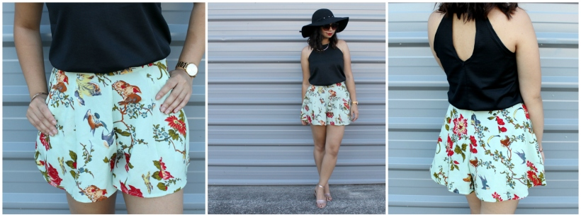 summer style floral shorts ootd outfit
