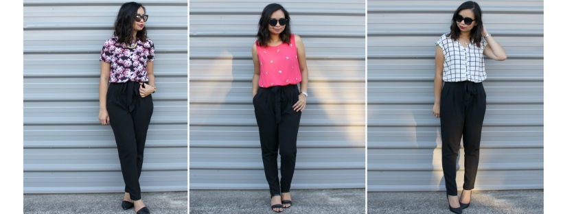 work style ootd outfit high-waisted pants