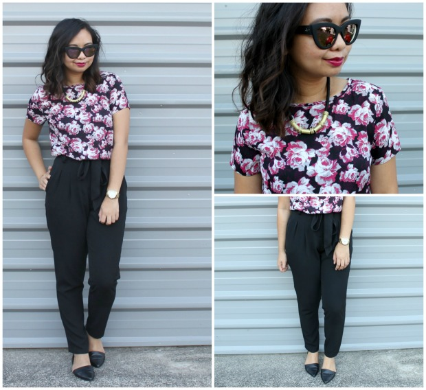 work style ootd outfit high waist pants floral top