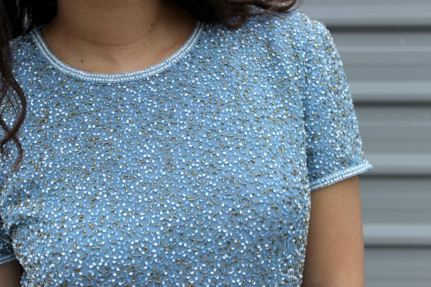 beaded thrifted top ootd ootn