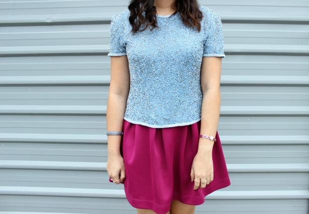 beaded thrifted top skirt jewellery ootd ootn