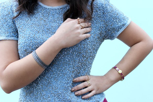 ootd ootd jewellery rings bangle beaded top