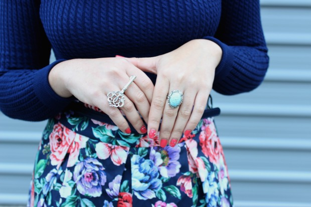 rings ootd outfit floral skirt