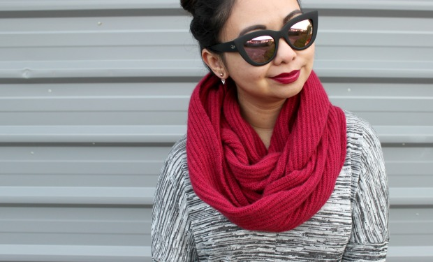 avoca rib loop scarf crimson ootd