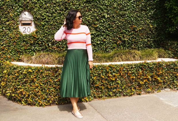green skirt and pink sweater.jpg